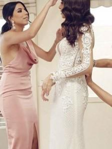 Elegant Sheath V Neck Open Back Blush Satin Long Bridesmaid Dresses with Split