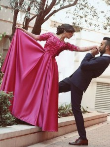 Charming A-Line Off the Shoulder Long Sleeve Open Back Rose Red Satin Long Prom Dresses with Appliques,Evening Party Dresses