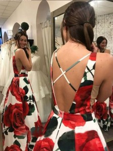 Charming A-Line V Neck Cross Back Floral Print Satin Long Prom Dresses with Pockets,Formal Party Dresses