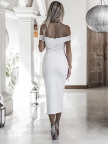 Bodycon Off the Shoulder Open Back White Black Elastic Satin Tea Length Homecoming Dresses with Split