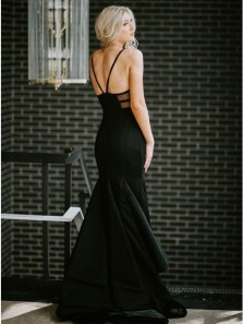 Elegant Mermaid V Neck Open Back Black Satin Prom Dresses,Evening Party Dresses
