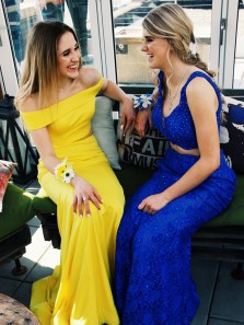 Unique Mermaid Two Piece Yellow Elastic Satin Long Prom Dresses,Off the Shoulder Formal Party Dresses