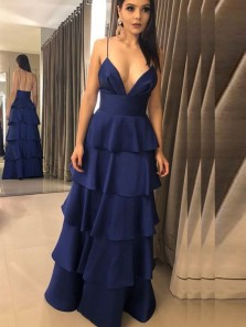 Modest A-Line V Neck Spaghetti Straps Open Back Navy Blue Satin Long Tiered Prom Dresses,Evening Party Dresses