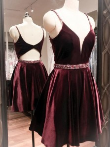 Cute A Line V Neck Open Back Velvet Burgundy Short Homecoming Dress, Short Prom Dress Under 100