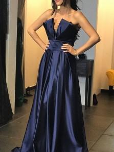 Elegant A-Line V Neck Open Back Navy Satin Long Prom Dresses,Charming Evening Party Dresses DG0926001