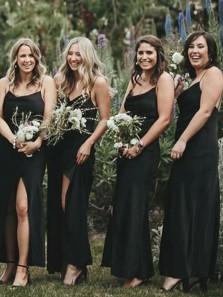 Sheath Cowl Neck Black Satin Ankle Length Bridesmaid Dresses with Split
