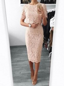 Sheath Round Neck Blush Pink Lace Short Sleeved Short Homecoming Dresses,Wedding Guest Dresses