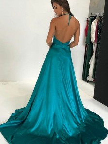 Sexy A-Line Deep V Neck Halter Criss Cross Back Burgundy Satin Long Prom Dresses with Side Split,Evening Party Dresses