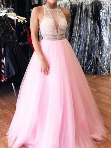 Stylish A-Line V Neck Open Back Pink Tulle Long Prom Dresses with Beading,Evening Party Dresses
