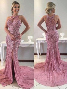 Luxurious Mermaid Halter Open Back Red Beaded Long Prom Dresses with Side Split,Evening Party Dresses