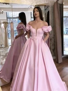 Princess Ball Gown Off the Shoulder Open Back Pink Satin Long Prom Dresses with Pockets,Formal Party Dresses