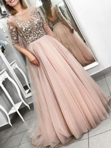 Elegant A-Line Round Neck 3/4 Sleeve Blush Tulle Long Prom Dresses with Appliques,Evening Party Dresses