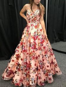 Modest A-Line V Neck Spaghetti Straps Floral Printed Prom Dresses,Fashion Graduation Dresses