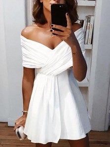 Alluring A-Line Off the Shoulder White Short Homecoming Dresses Under 100