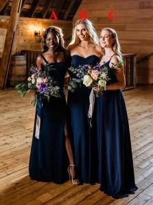 Elegant A-Line Sweetheart Navy Blue Satin Long Bridesmaid Dresses with Split Under 100