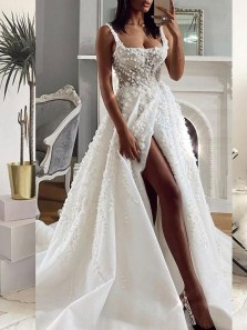 Chic A-Line Square Neck White Lace Wedding Dresses