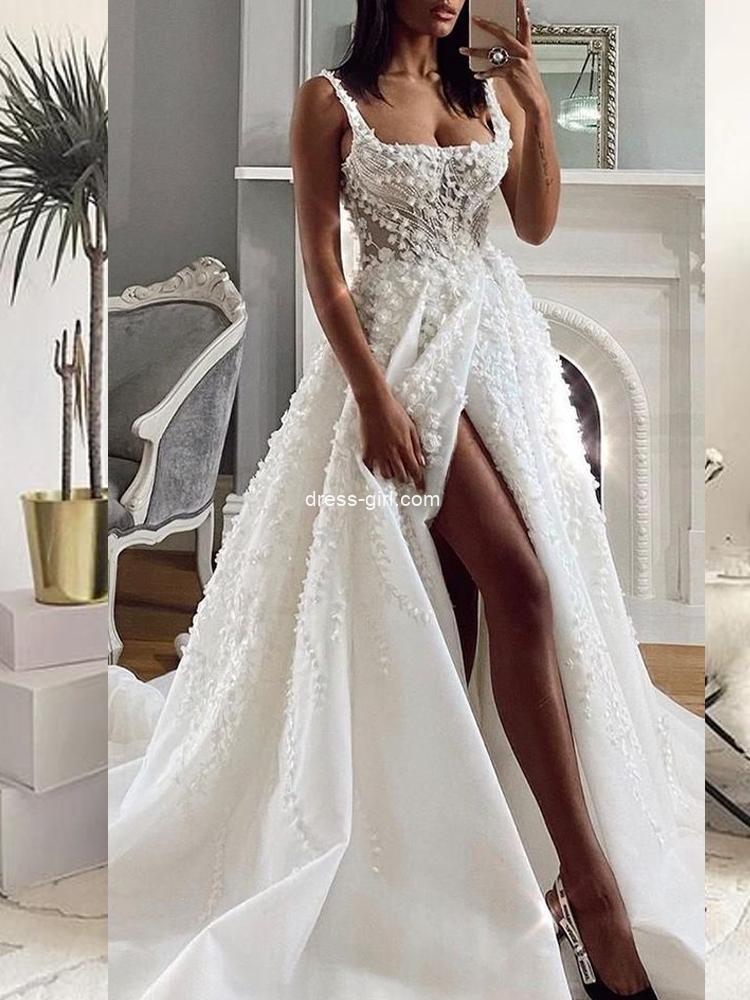 Chic A-Line Square Neck White Lace Wedding Dresses