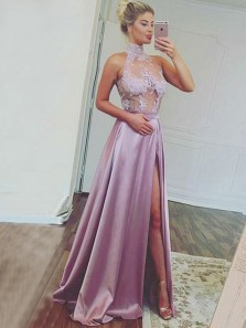 Charming A-Line High Neck Open Back Lavender Satin Long Prom Dresses with High Split,Sexy Evening Party Dresses