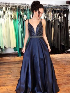 Charming A-Line V Neck Open Back Navy Blue Satin Long Prom Dresses with Beading,Evening Party Gown