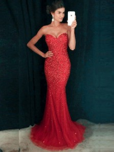Charming Mermaid Sweetheart Open Back Red Tulle Long Prom Dresses with Beading,Formal Party Dresses