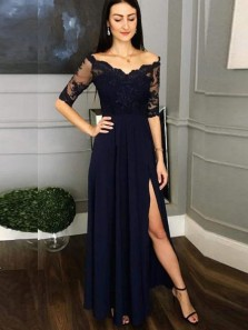 Charming A-Line V Neck Half Sleeve Open Back Black Chiffon Long Prom Dresses with Lace,Evening Party Dresses