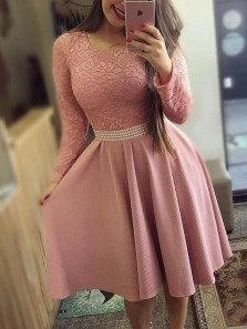 Cute A-Line Round Neck Long Sleeve Blush Lace Short Cocktail Party Dresses,Bridesmaid Dresses