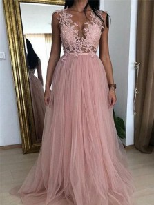 Charming A-Line V Neck Open Back Blush Tulle Long Prom Dresses with Appliques,Evening Party Dresses