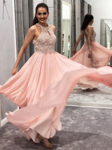 Charming A-Line Halter Open Back Pink Chiffon Long Prom Dresses with Beading,Formal Evening Party Dresses