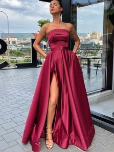 Charming A-Line Strapless Open Back Magenta Satin Long Prom Dresses with Slit,Evening Party Dresses
