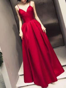 Charming A-Line Sweetheart Spaghetti Straps Open Back Dark Red Satin Long Prom Dresses,Evening Party Dresses