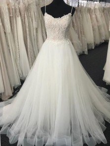 Romantic A-Line V Neck Spaghetti Straps Open Back White Tulle Long Wedding Dresses,Lace Bridal Gown