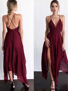 Simple A-Line V Neck Spaghetti Straps Cross Back Burgundy Chiffon Long Prom Dresses,Fashion Party Dresses