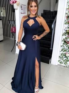 Excellent A-Line Halter Open Back Navy Blue Satin Long Prom Dresses with Split,Evening Party Dresses