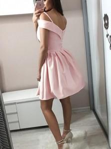 Princess A-Line Off the Shoulder Open Back Pink Satin Short Prom Homecoming Dresses,Cocktail Party Dresses Under 100 DG0417006