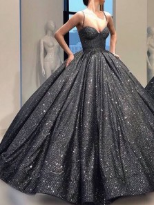 Ball Gown Sweetheart Open Back Black Sequins Long Prom Dresses with Straps,Girls Junior Graduation Gown