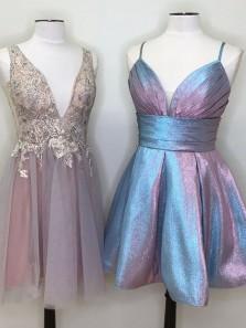 Cute A-Line V Neck Open Back Blue Sparkly Satin Short Homecoming Dresses,Short Prom Dresses GD190719011