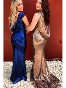Sparkly Royal Blue/Rose Gold Sequins Mermaid Long Bridesmaid Dress