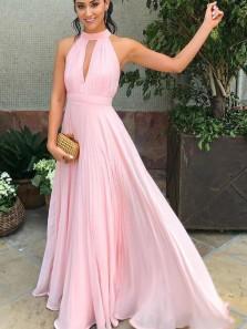 Simple A-Line Halter Open Back Pink Chiffon Long Prom Dresses,Elegant Evening Party Dresses