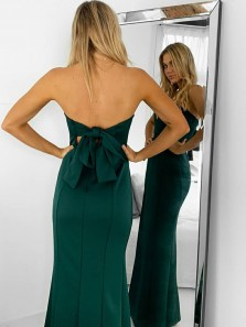 Cute Mermaid Strapless Open Back Dark Green Satin Long Prom Dresses with Side Slit,Evening Party Dresses