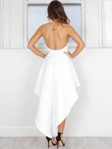 Modern A-Line Halter Backless High Low White Satin Prom Dresses,Evening Prom Dresses