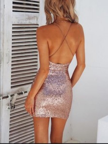 Sexy Body con Cross Back Rose Gold Sequins Mini Homecoming Dresses,Evening Party Dresses Under 100