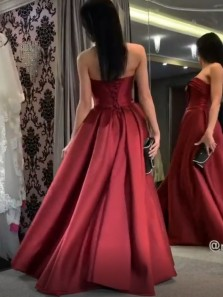 Elegant A-Line Sweetheart Dark Red Satin Long Prom Evening Dresses.Formal Party Dresses