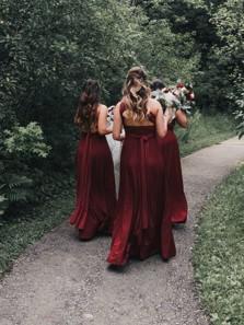 Elegant A-Line Convertible Red Chiffon Long Bridesamid Dresses