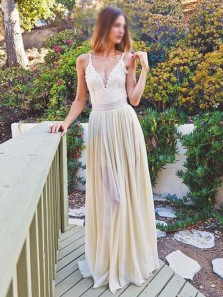 Unique Spaghetti Straps V Neck Light Yellow Chiffon A-Line Long Prom Dresses with Lace