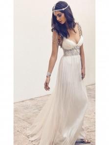 Elegant Fashion V Neck A Line Chiffon White Beach Wedding Dress with Beading