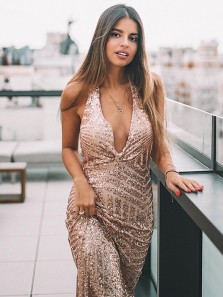 Sexy Deep V Neck Backless Champagne Sequins Mermaid Long Prom Dresses with Split,Evening Party Dresses