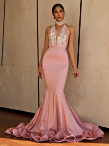 Sexy Mermaid V Neck Backless Blush Satin White Appliques Long Prom Dresses,Charming Formal Party Dresses