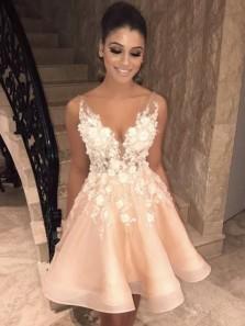 Beautiful A-Line V Neck Open Back Blush Organza White Appliques Short Prom Dresses,Short Evening Party Dresses