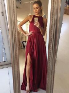 Stylish A-Line Jewel Neck Open Back Burgundy Chiffon Long Prom Dresses with Split,Evening Party Dresses,Bridesmaid dresses 2020