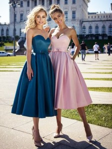 Vintage A-Line Sweetheart Teal Satin Tea Length Prom Dresses with Pockets,Wedding Guest Dresses